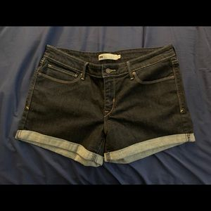 Levis Black Denim Cuff Shorts